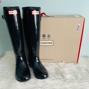 Hunter Black Glossy Tall Boots / size 9